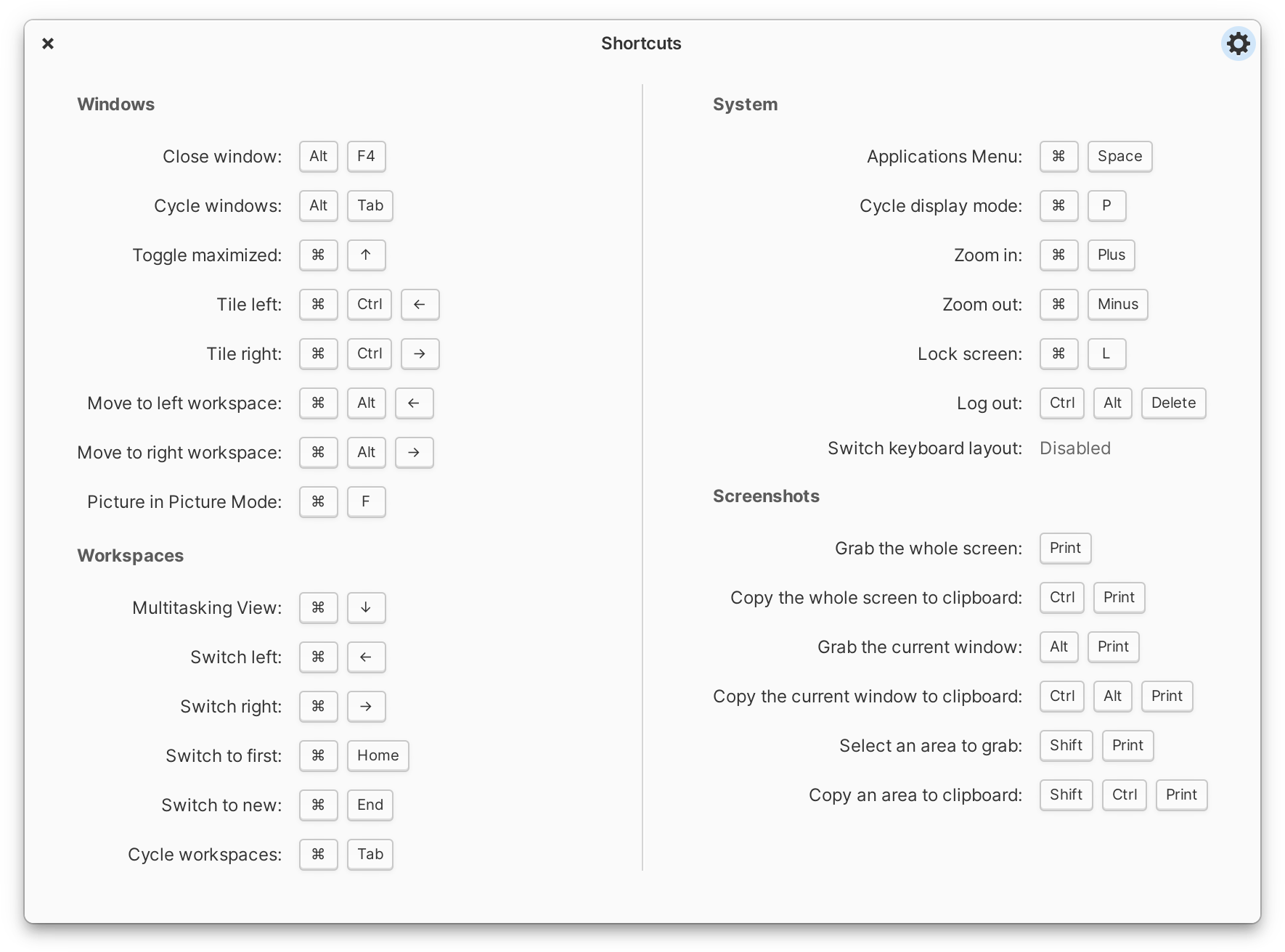 elementary OS Keyboard Shortcuts